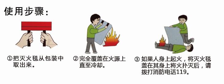安心品牌玄武岩灭火毯的使用步骤